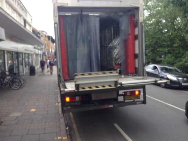 The photo for Disgraceful unloading practices by Tesco, East Road, Cambridge.